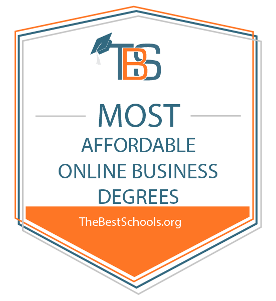 most affordable online business degrees badge