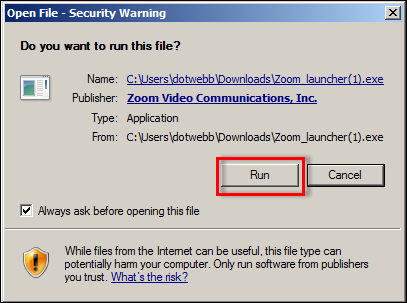 you will see a security window for the click save file